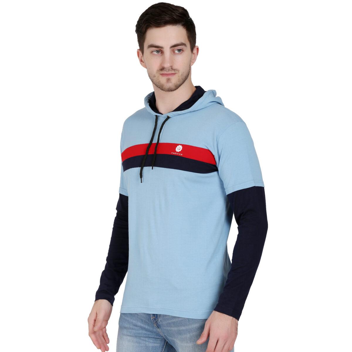 Solid Men Hooded Neck Light Blue T-Shirt
