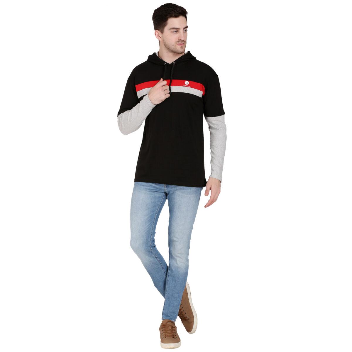 Solid Men Hooded Neck Light BLACK T-Shirt