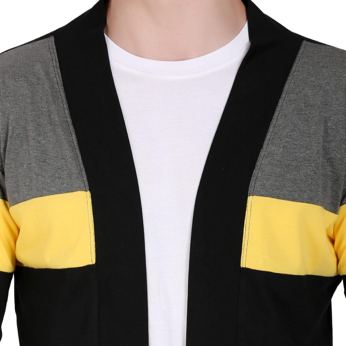 Men Flared Full Sleeve Black, Yellow Shrug