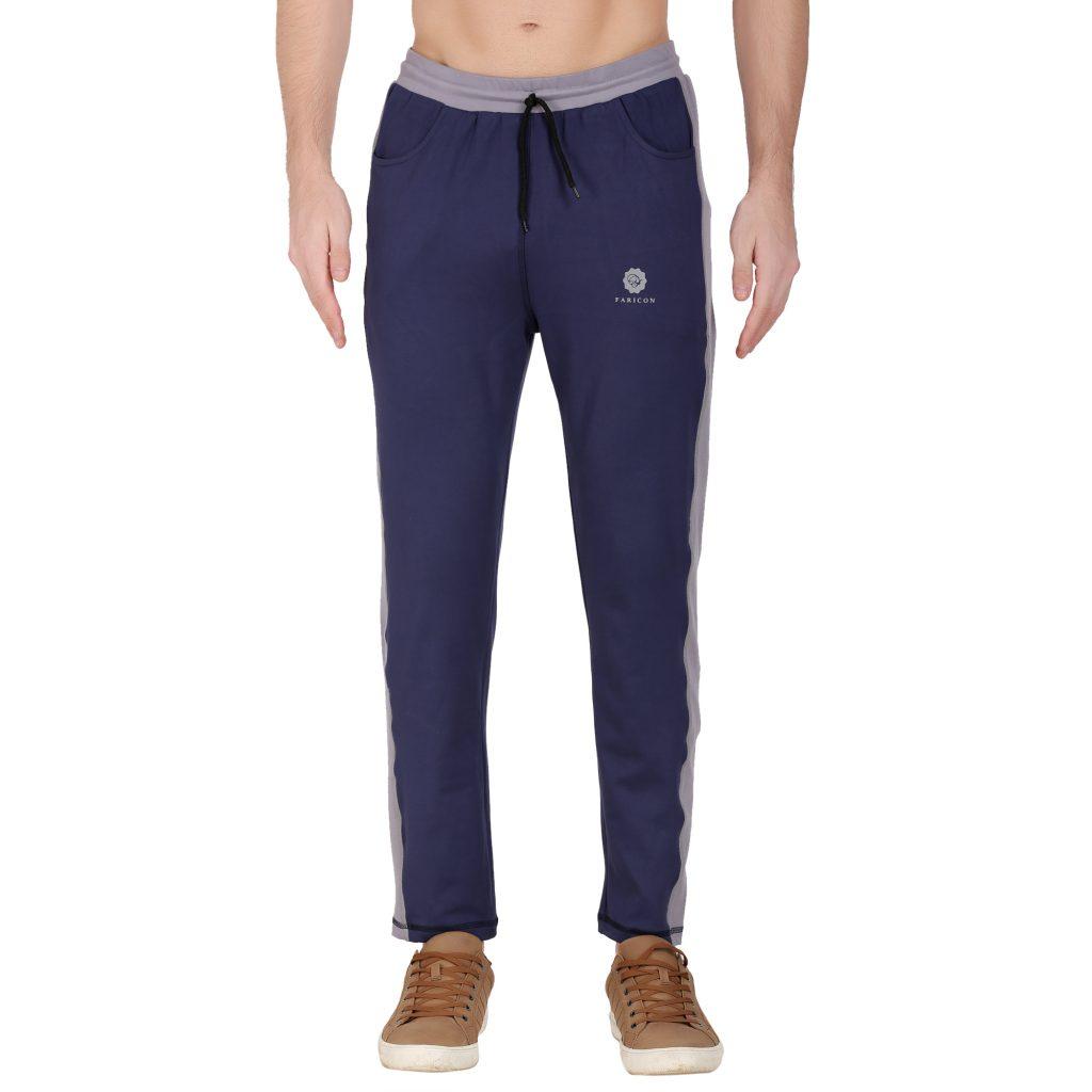 Solid Men Dark Blue, Grey Men's Track Pants