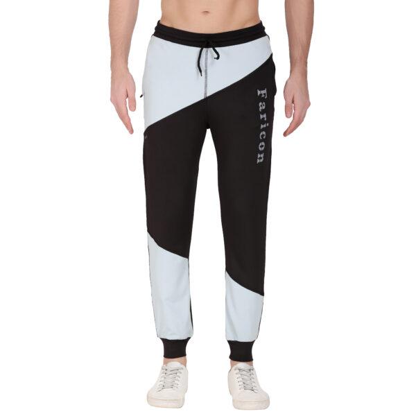 Solid Black, Grey Men Track Pants