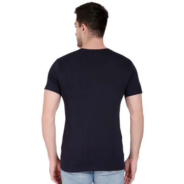 Printed Men Round Neck Dark Blue T-Shirt