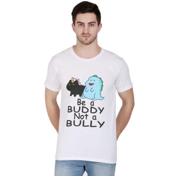 Printed Men Round Neck White T-Shirt
