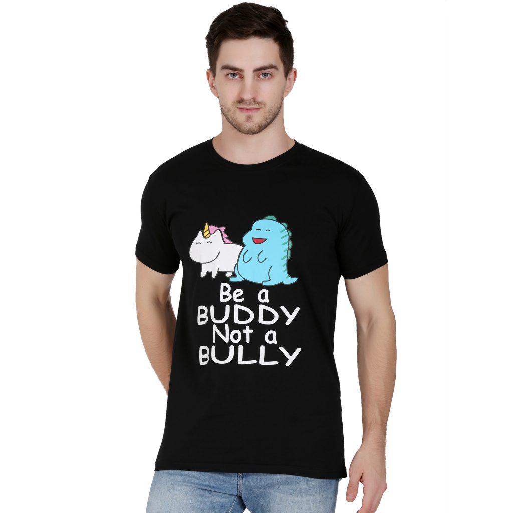 Printed Men Round Neck Black T-Shirt