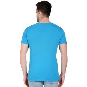Printed Men Round Neck Blue T-Shirt