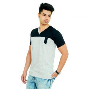Solid Men V-neck Multicolor T-Shirt - Faricon