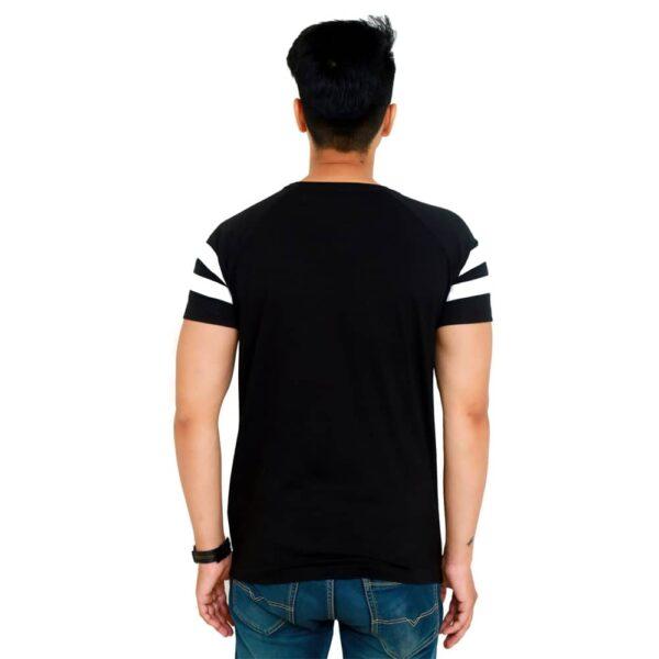 Striped Men Round Neck Black T-Shirt
