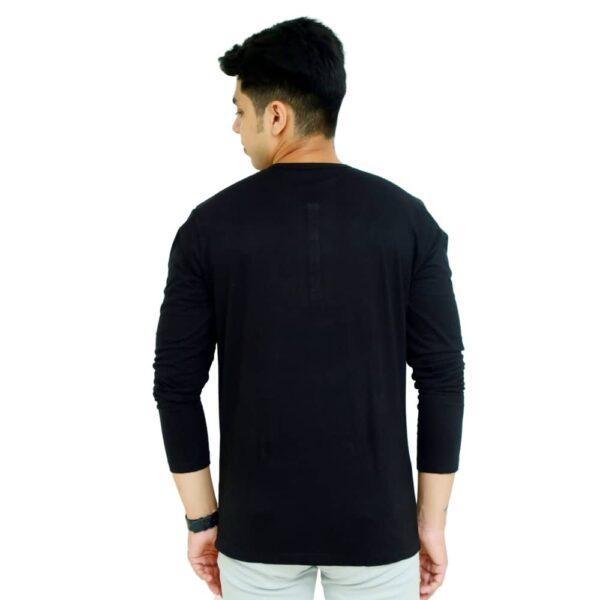 Solid Men Henley Neck Black T-Shirt