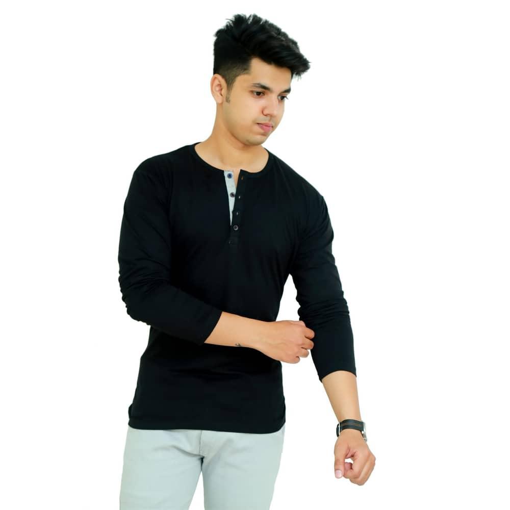 Solid Men Henley Neck Black T-Shirt - Faricon