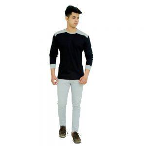 Color Block Men Round Neck Black, Grey T-Shirt