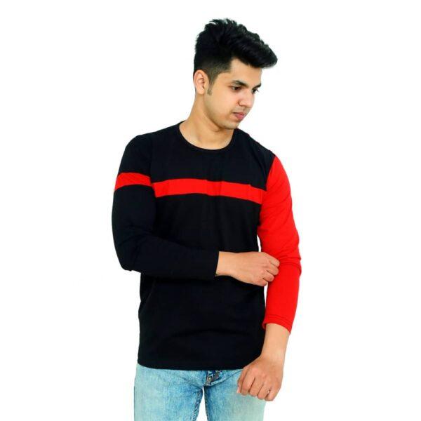 Color Block Men Round Neck Red, Black T-Shirt - Faricon
