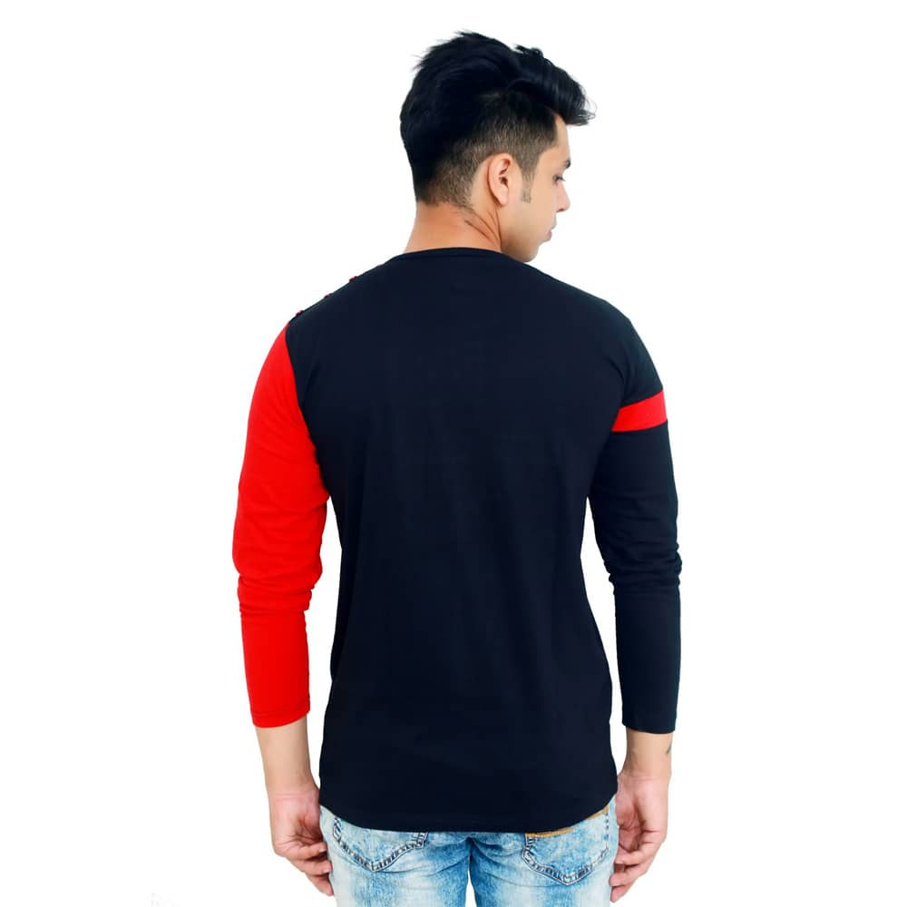Color Block Men Round Neck Red, Black T-Shirt