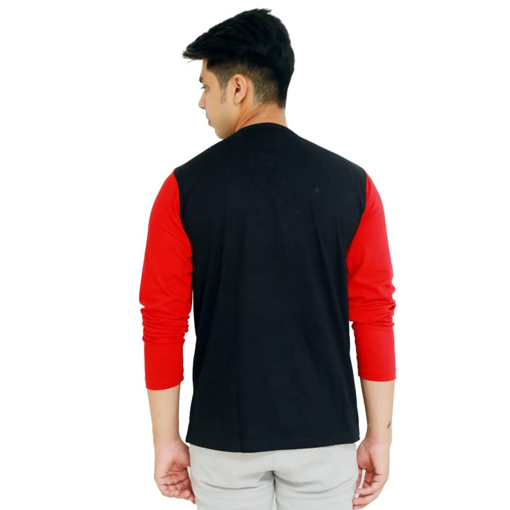 Color Block Men Round Neck Multicolor T-ShirtColor Block Men Round Neck Black and Red T-Shirt