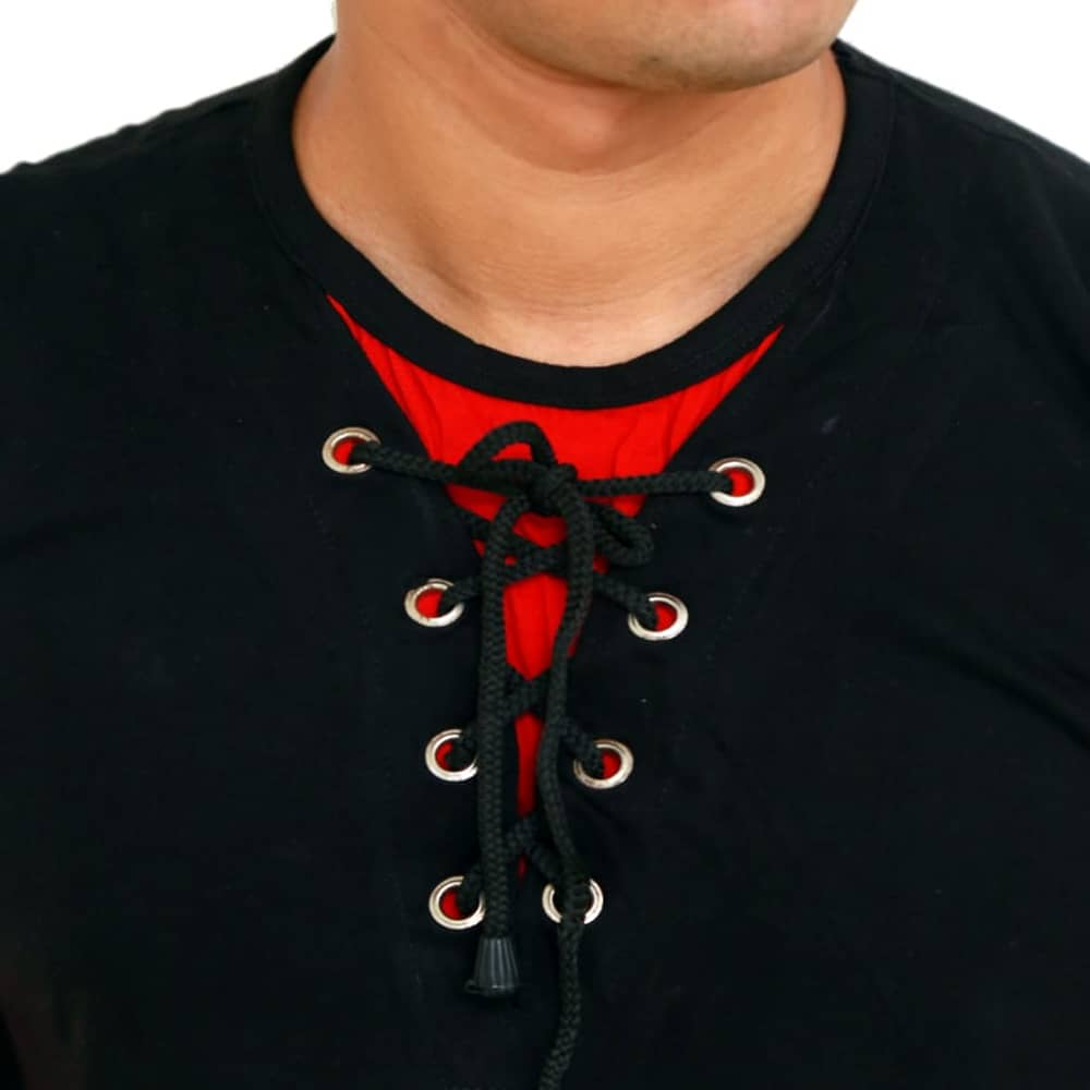 Color Block Men Round Neck Black and Red T-Shirt
