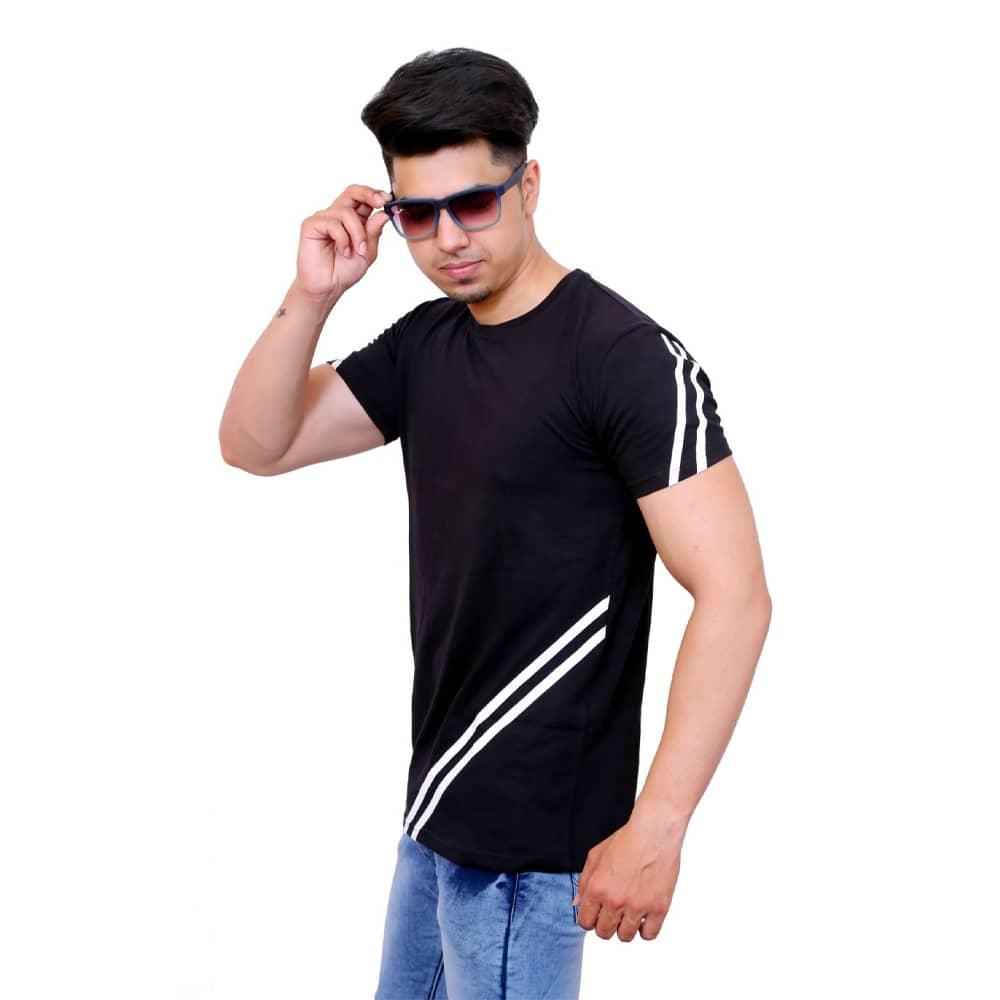 Color Block Men Round Neck Black, White T-Shirt