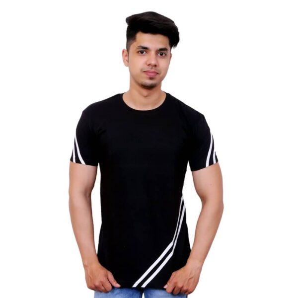 Color Block Men Round Neck White, Black T-Shirt - Faricon
