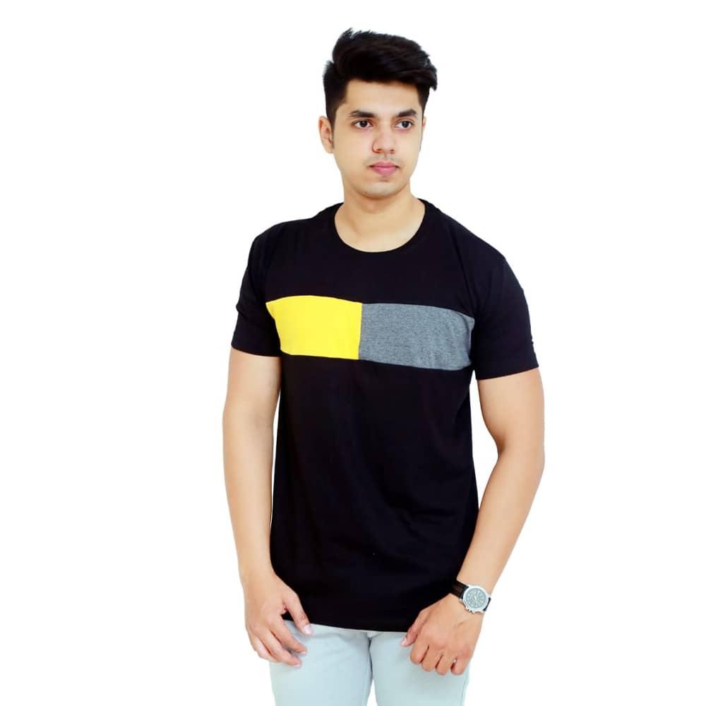 Color Block Men Round Neck Black, Grey, Yellow T-Shirt