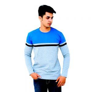 Color Block Men Round Neck Light Blue T-Shirt