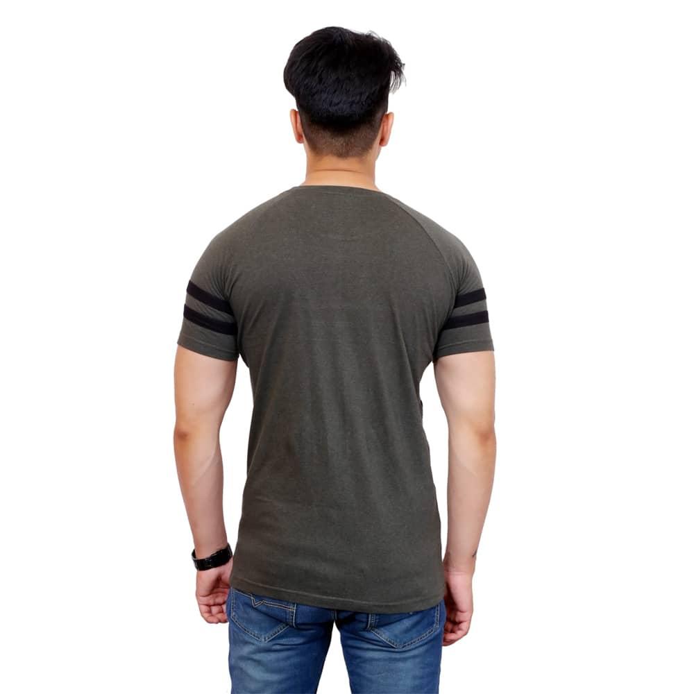 Color Block Men Round Neck Dark Green T-Shirt