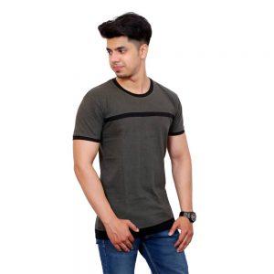 Color Block Men Round Neck Dark Green T-Shirt - Faricon