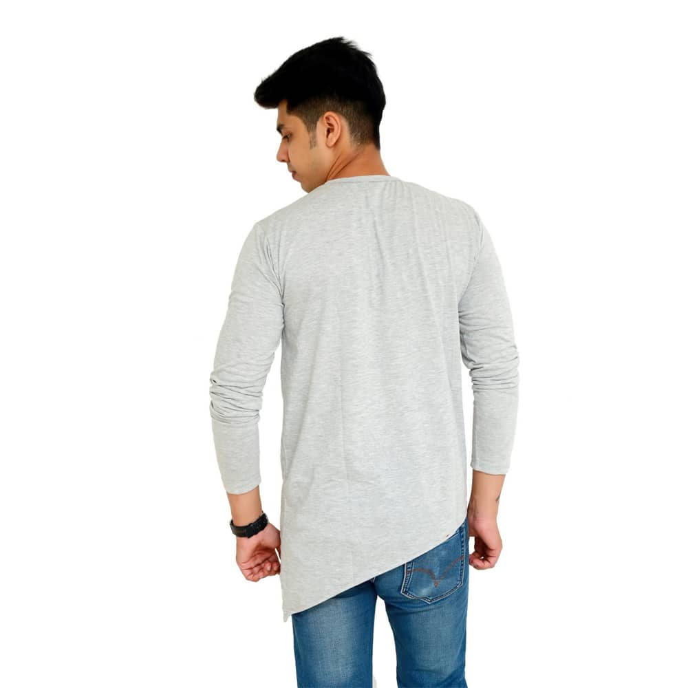 Color Block Men Round Neck Grey T-Shirt