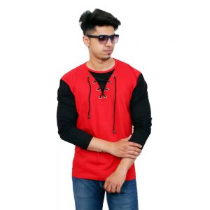 Color Block Men Round Neck Black and Red T-Shirt - Faricon