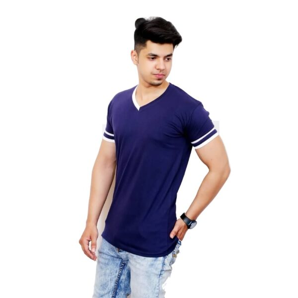 Solid Men V-Neck White and Blue Half Sleeve T-Shirt - Faricon