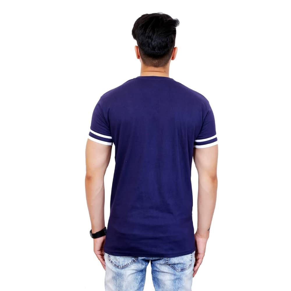 Solid Men V-Neck White and Blue Half Sleeve T-Shirt