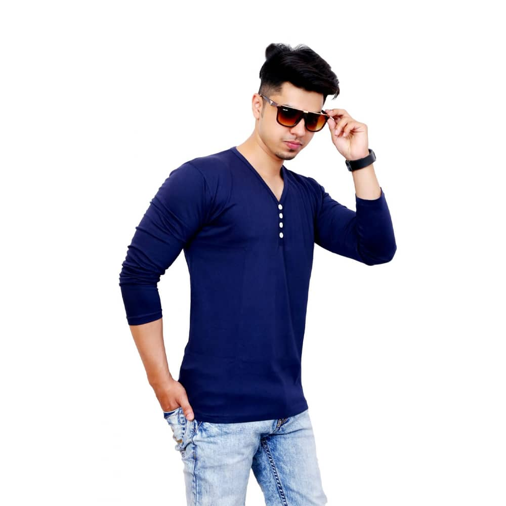 Solid Men V Neck Blue Full Sleeve T-Shirt