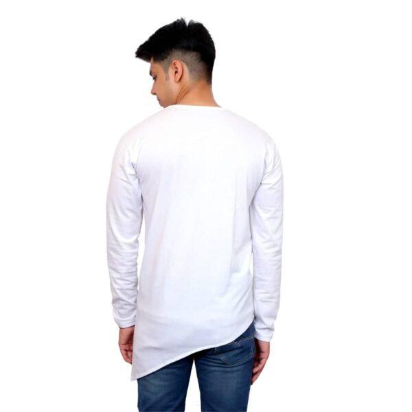 Color Block Men Round Neck White T-Shirt