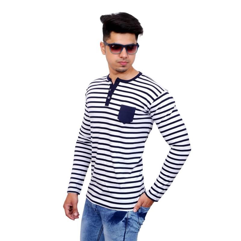 Striped Men Henley Neck White T-Shirt