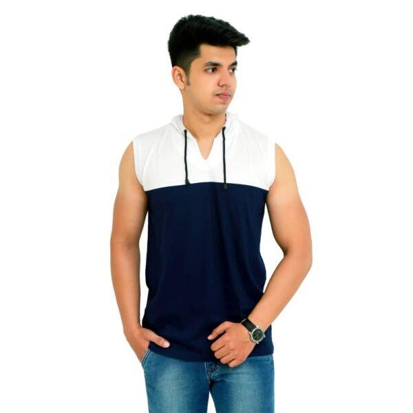 Color Block Men Hooded Neck White T-Shirt - Faricon