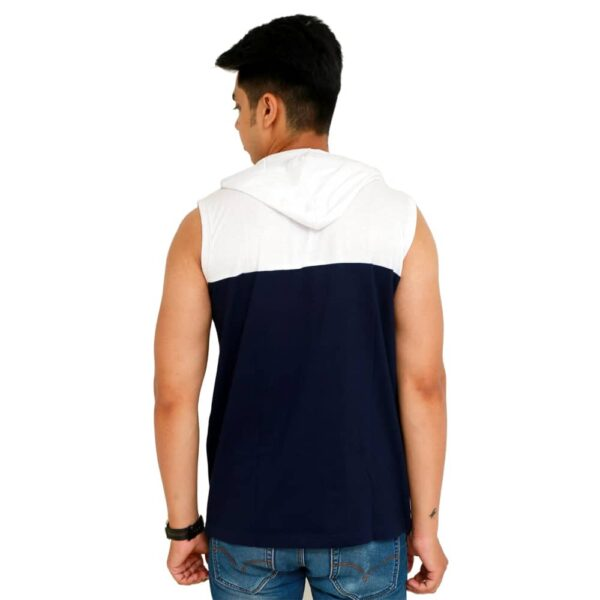 Color Block Men Hooded Neck White T-Shirt