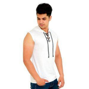 Solid Men Hooded Neck White T-Shirt