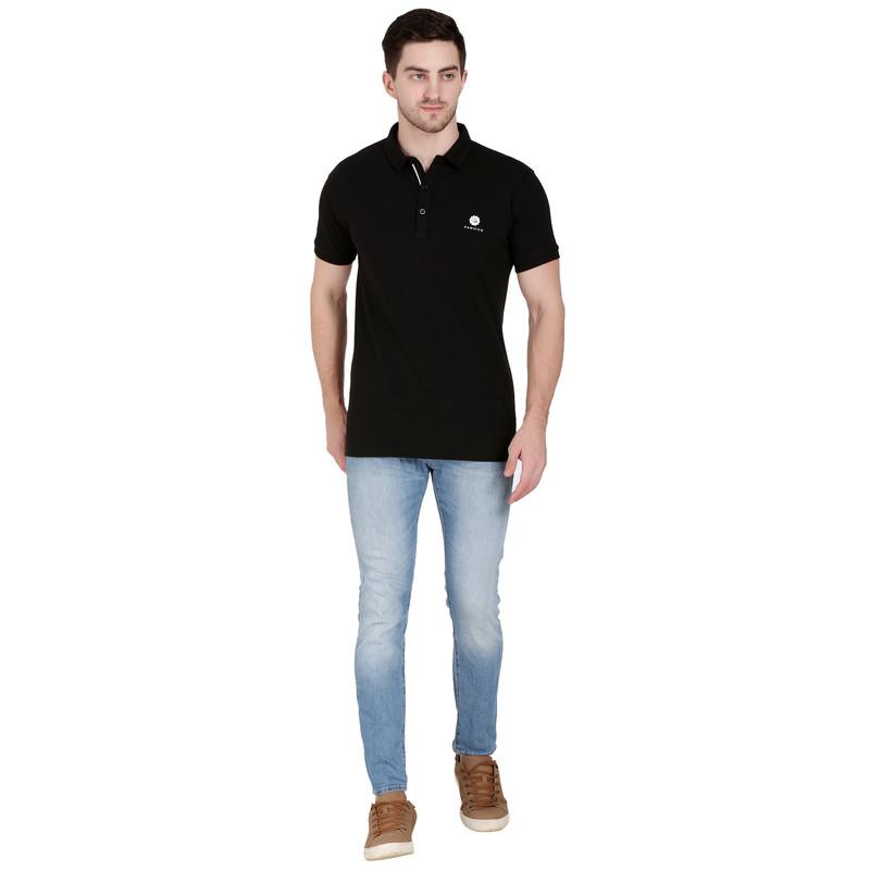 Solid Men Polo Neck Black T-Shirt
