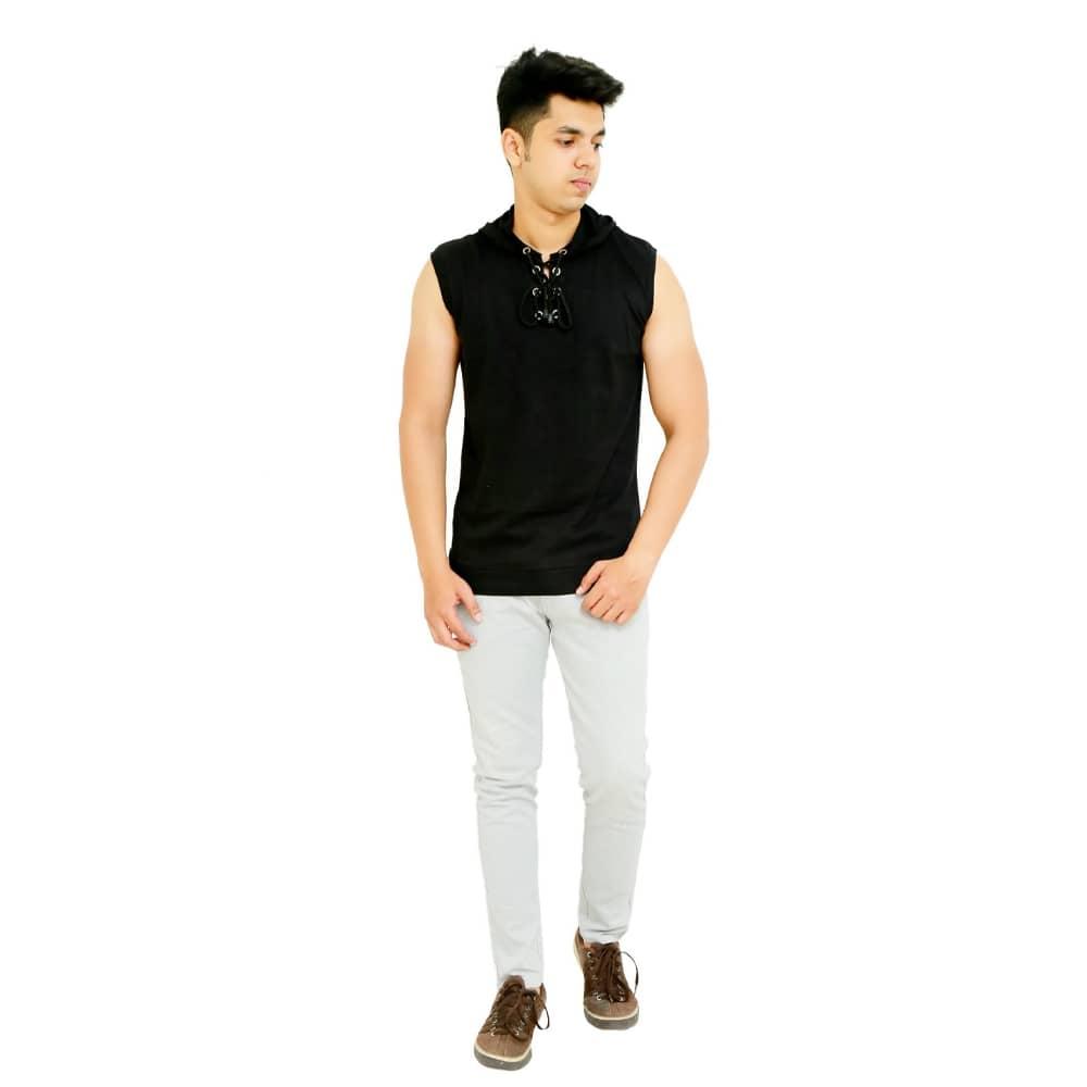 Solid Men Hooded Neck Black T-Shirt