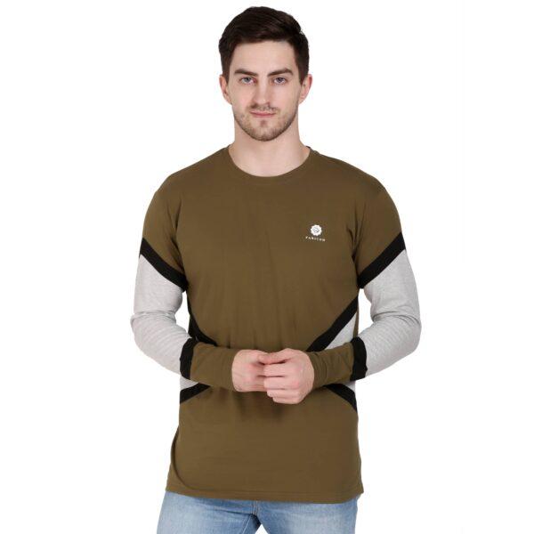 Solid Men Round Neck Heena Green T-Shirt
