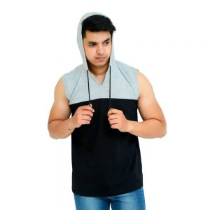 Color Block Men Hooded Neck Black, Grey T-Shirt