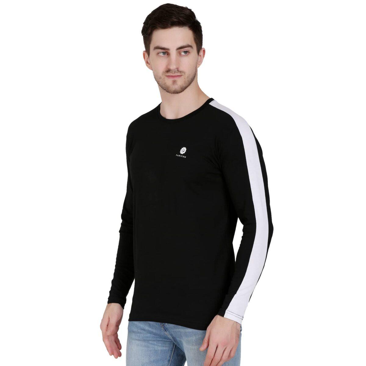 Solid Men Round Neck Black, White T-Shirt