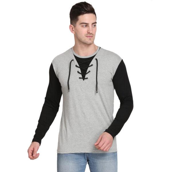 Solid Men Round Neck Grey T-Shirt