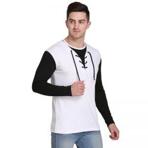 Solid Men Round Neck White T-Shirt