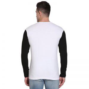Solid Men Hooded Neck White, Black T-Shirt