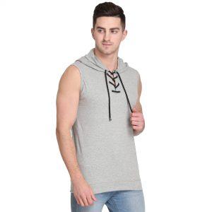 Solid Men Hooded Neck Grey T-Shirt