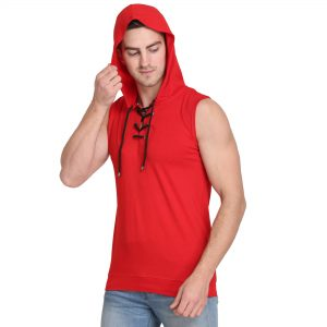 Solid Men Hooded Neck Red T-Shirt
