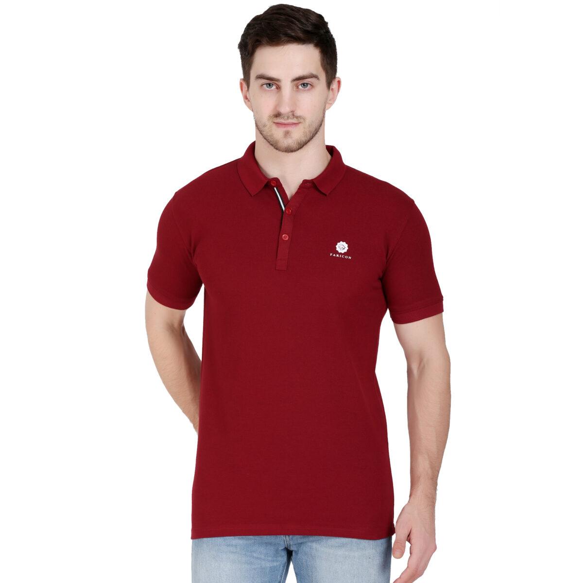 Solid Men Polo Neck T-Shirt