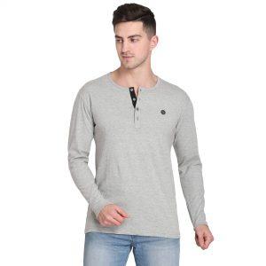 Solid Men Henley Neck Grey T-Shirt