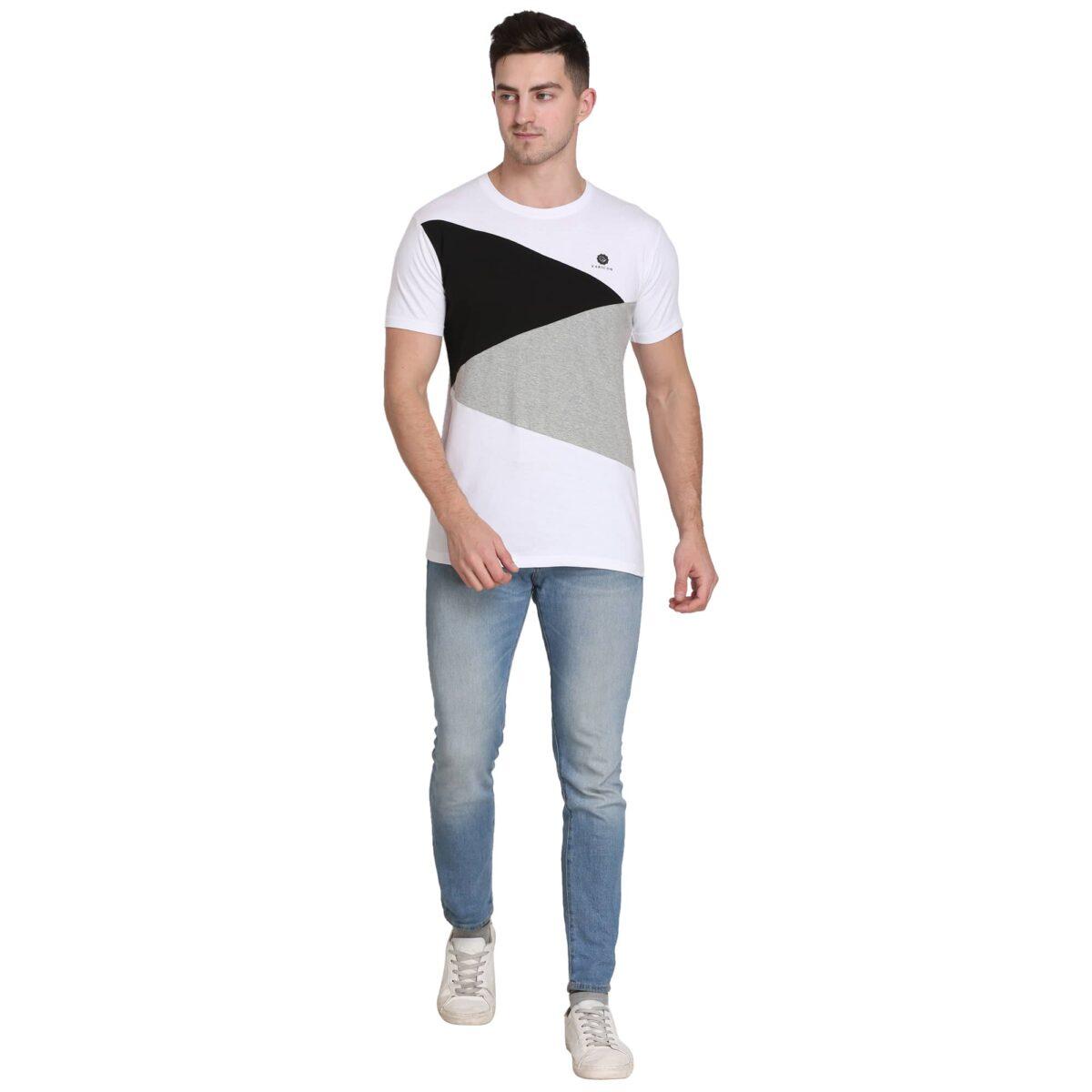 Color Block Men Round Neck Multicolor T-Shirt
