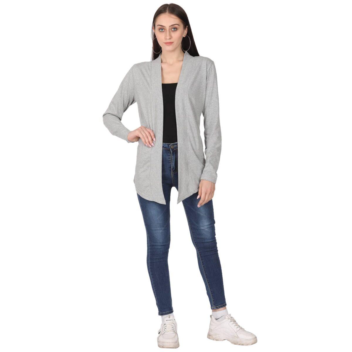 Women Full Sleeve Grey Shrug