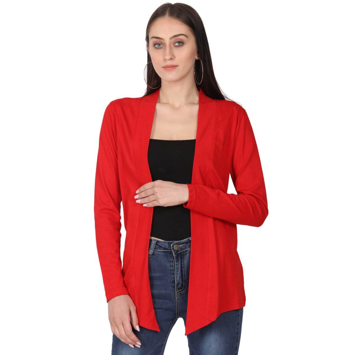 Women Full Sleeve Red Shrug