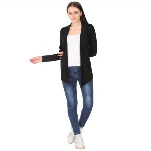 Women Full Sleeve Black Shrug
